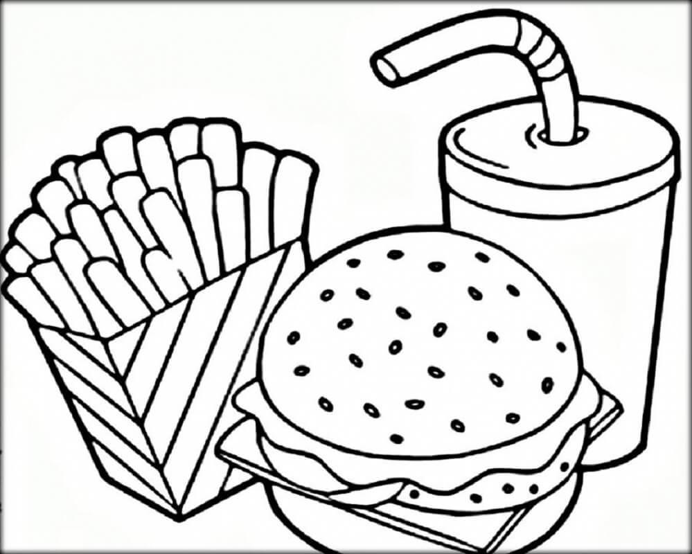Desenhos de McDonald Três Alimentos para colorir