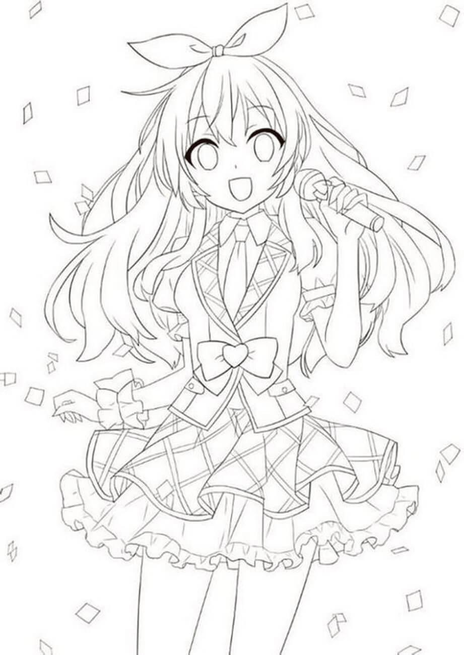 Desenhos de Menina Anime Cantando para colorir