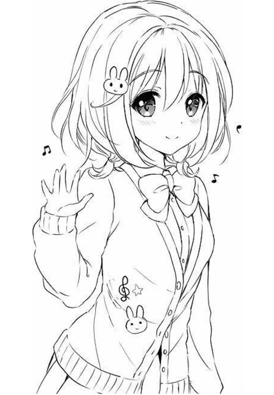 Desenhos de Menina Anime Kawaii para colorir