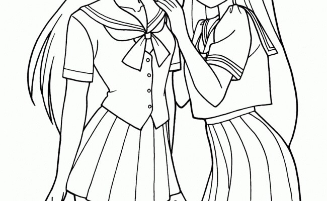 Desenhos de Menina Corpo Dois Anime para colorir