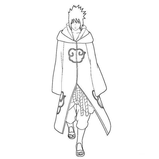 Desenhos de Menino Mau Akatsuki Sasuke para colorir