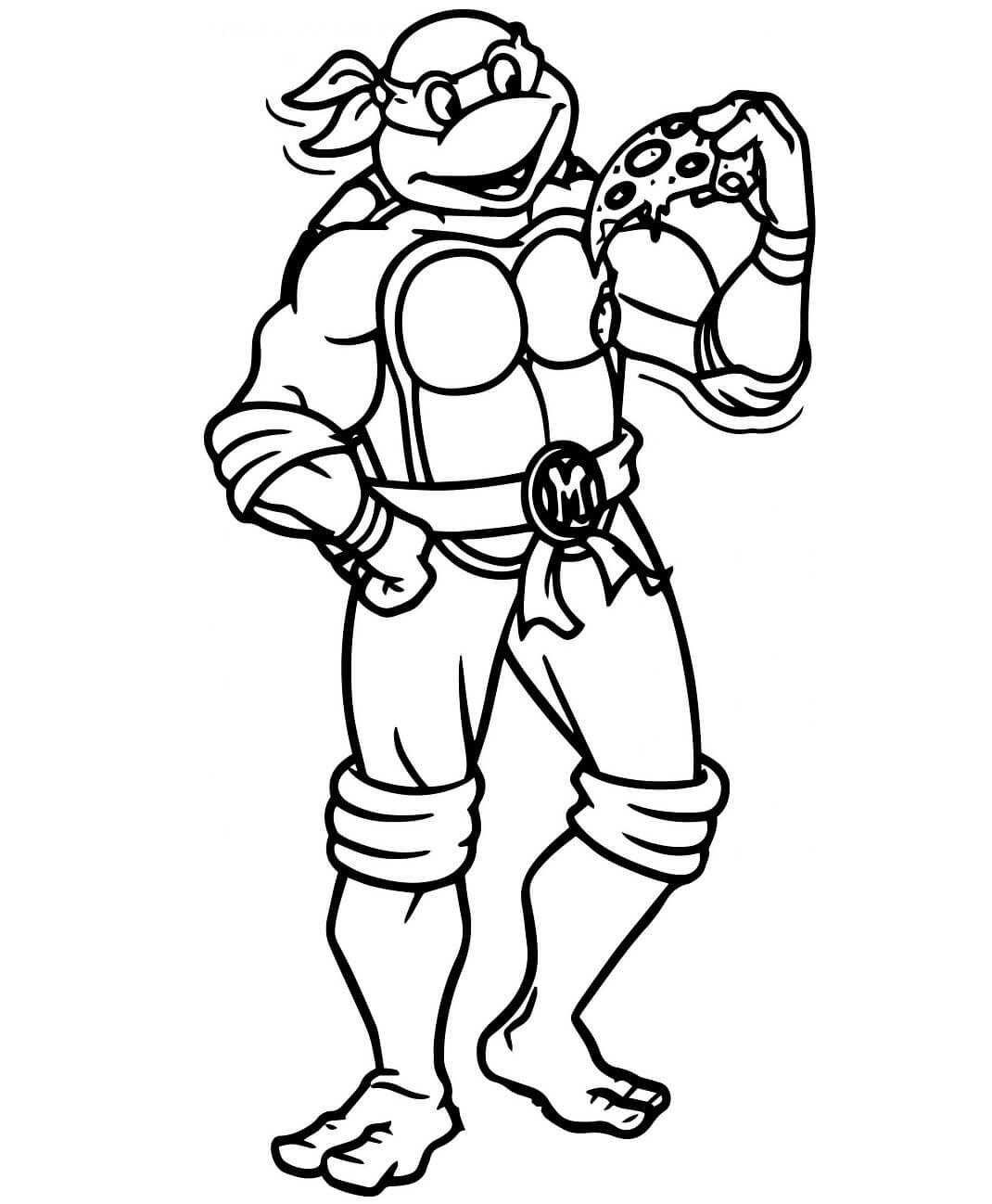 Desenhos de Michelangelo Comendo Pizza para colorir