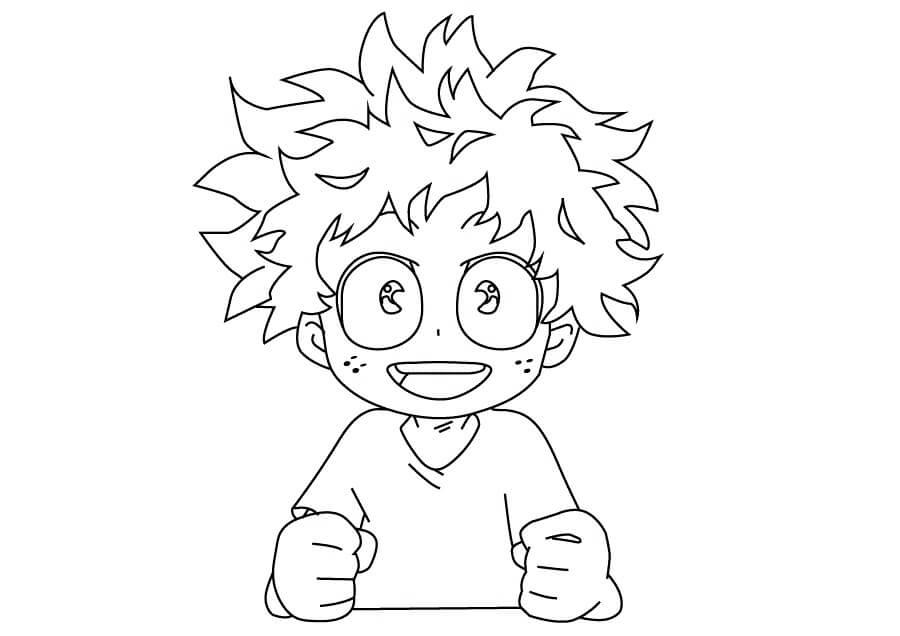 Desenhos de Midoriya Sorrindo para colorir
