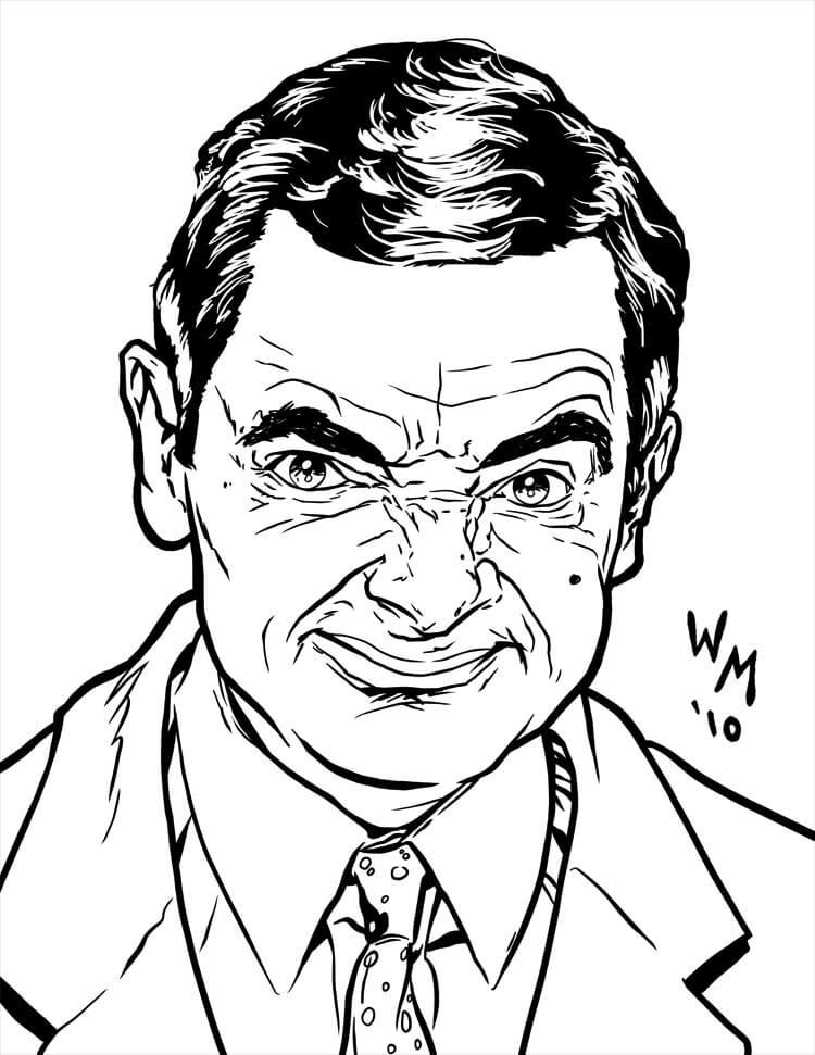Desenhos de Mr Bean Cara mais engraçada para colorir