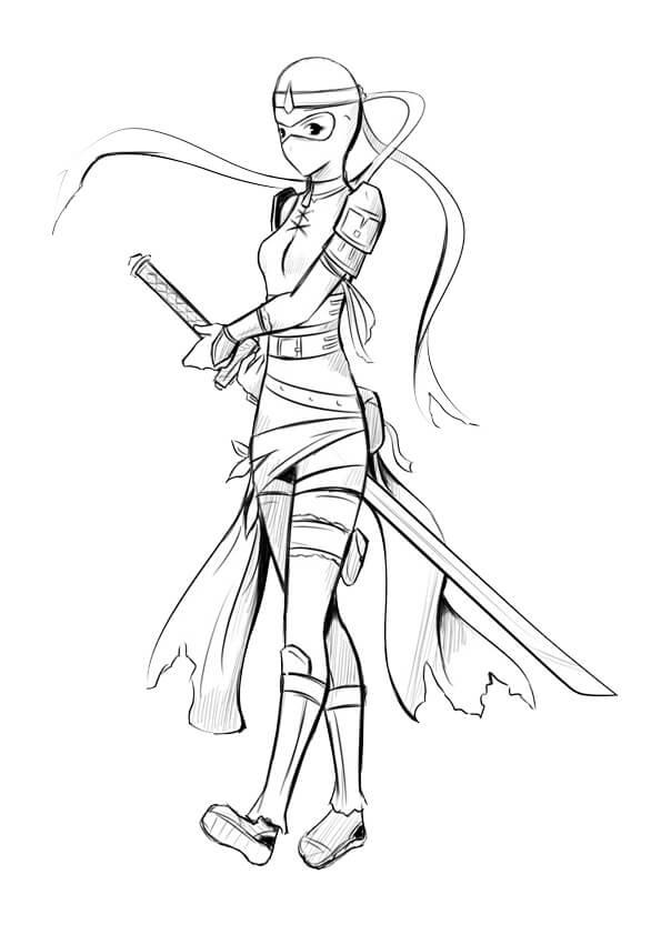 Desenhos de Mulher Ninja para colorir