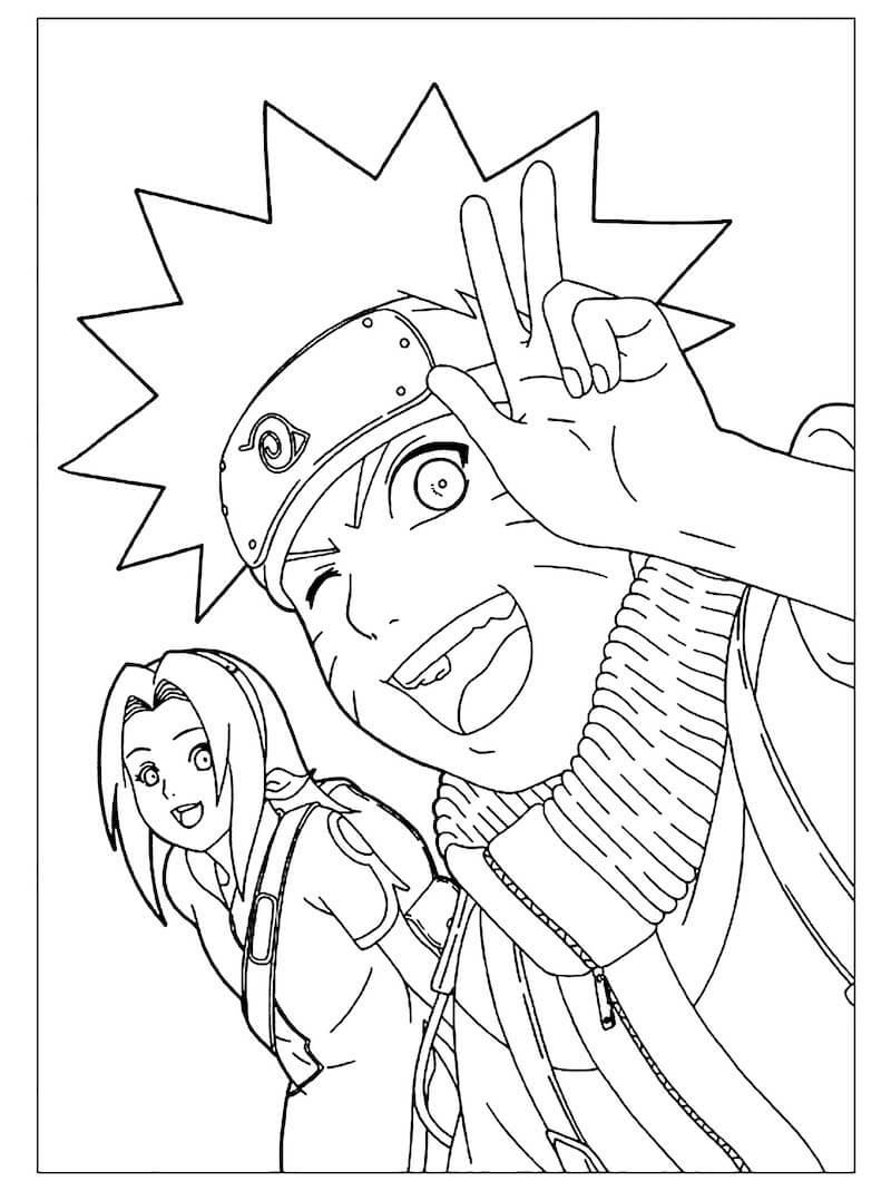Desenhos de Naruto E Sakura Sorrindo para colorir