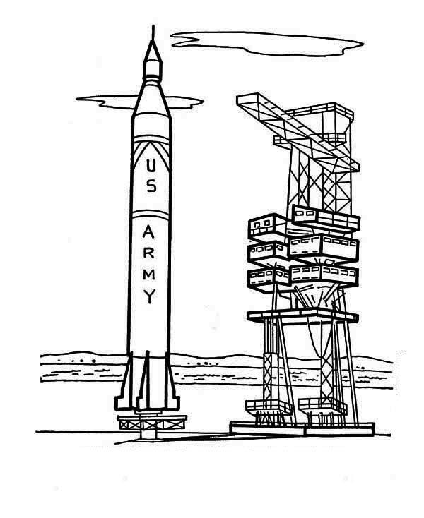Desenhos de Nave Espacial Perto Da Torre De Lançamento para colorir