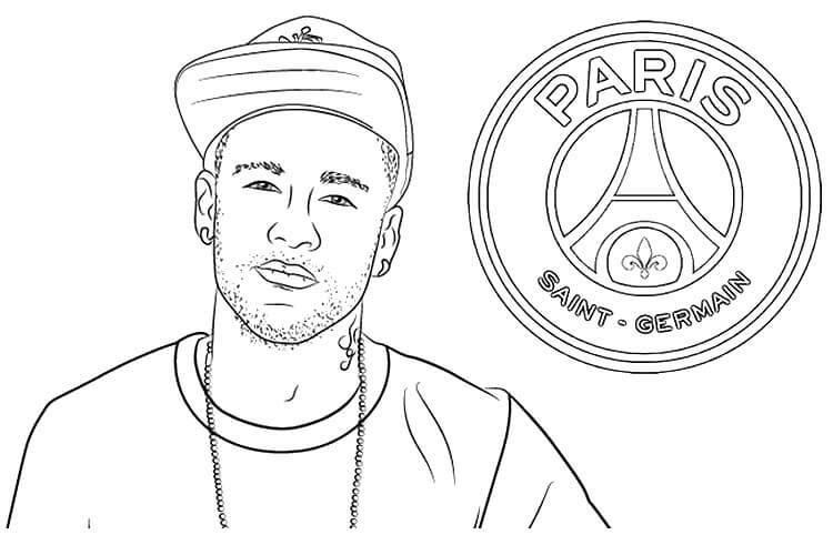 Desenhos de Neymar Jogando E O Logotipo Da Equipe Francesa para colorir
