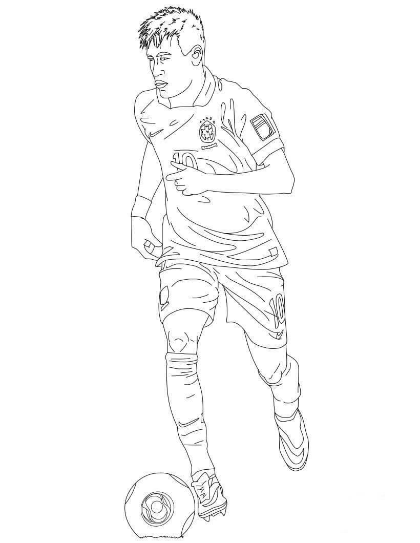 Desenhos de Neymar Jogando Futebol para colorir