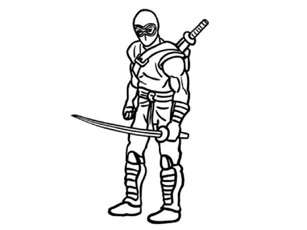 Desenhos de Ninja Com Espada para colorir