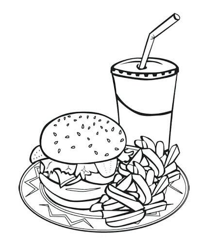 Desenhos de Oferta Combinada de Alimentos McDonald para colorir
