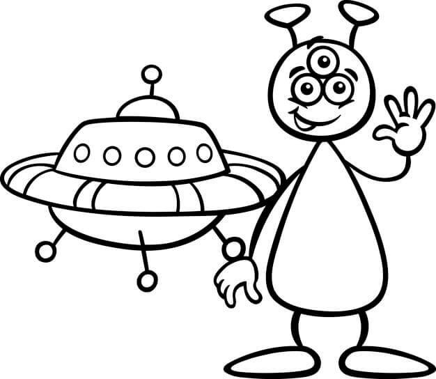Desenhos de OVNI E O Alienígena Sorrindo para colorir