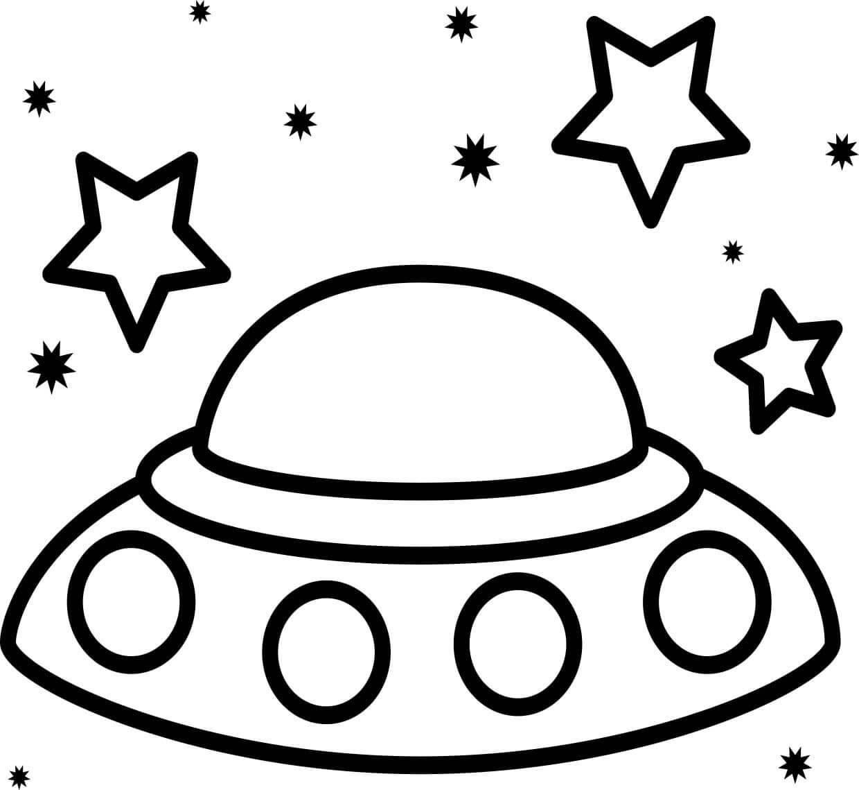 Desenhos de OVNI Voando No Espaço para colorir