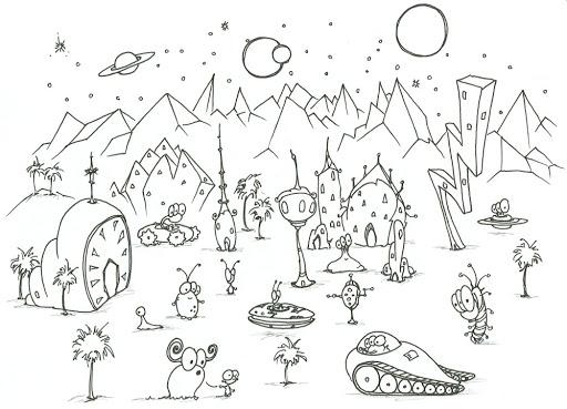 Desenhos de OVNIs E Novos Planetas para colorir