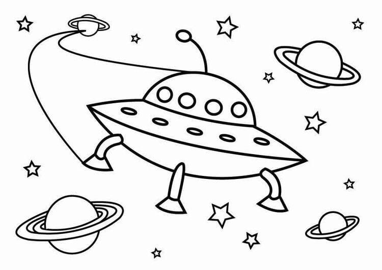 Desenhos de OVNIs E Planetas para colorir