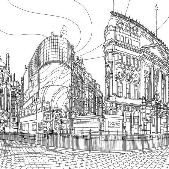 Desenhos de Página Fantastic Cities De Steve McDonald para colorir