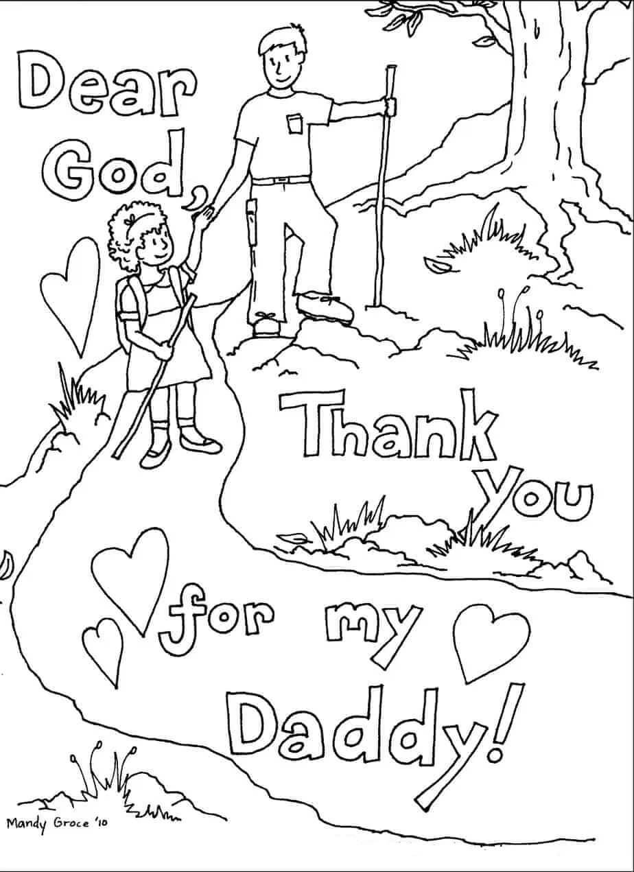 Desenhos de Pai E Filho Escalando Montanhas para colorir