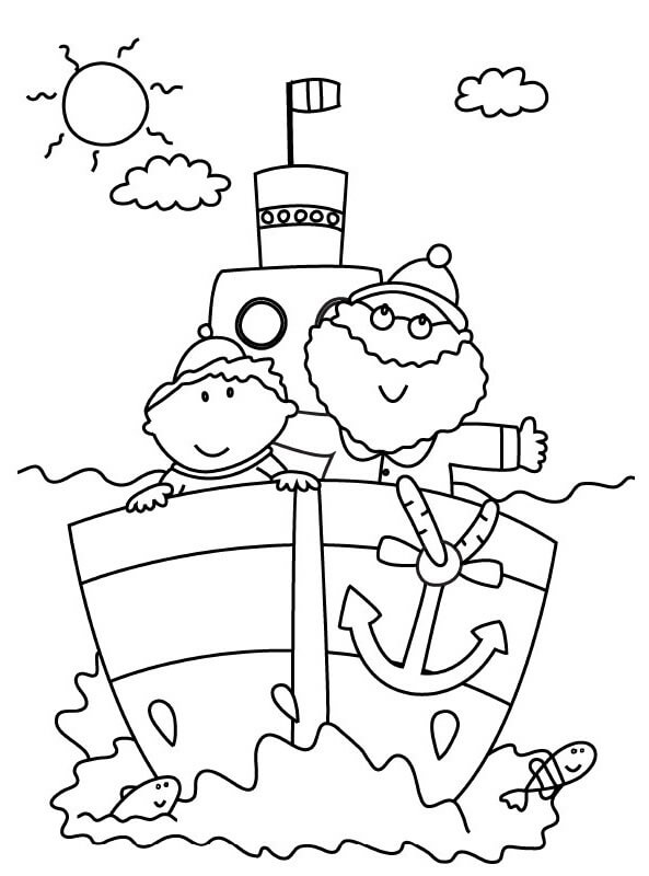 Desenhos de Pai E Filho, No Trem para colorir