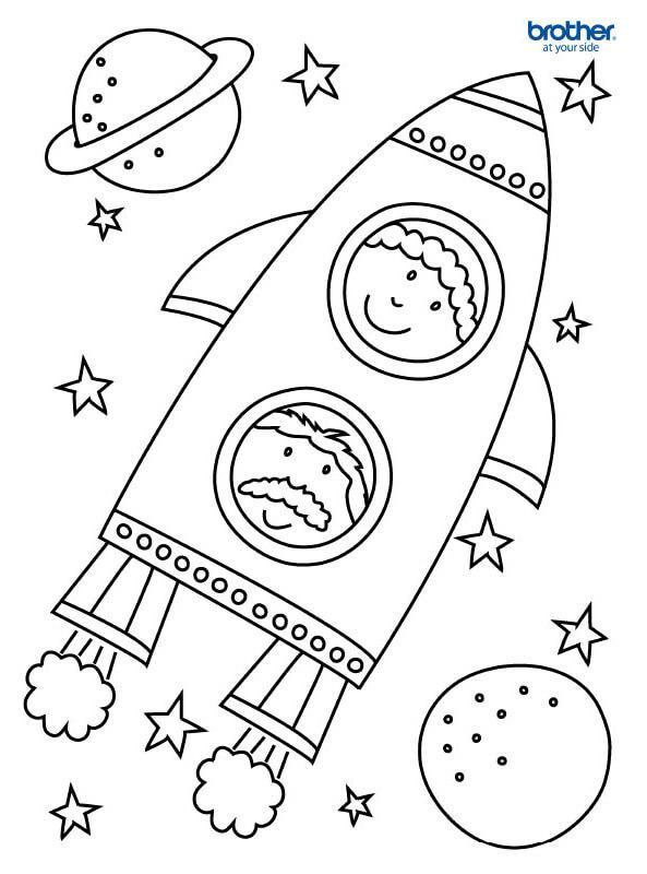 Desenhos de Pai E Filho Viajando Para O Espaço para colorir