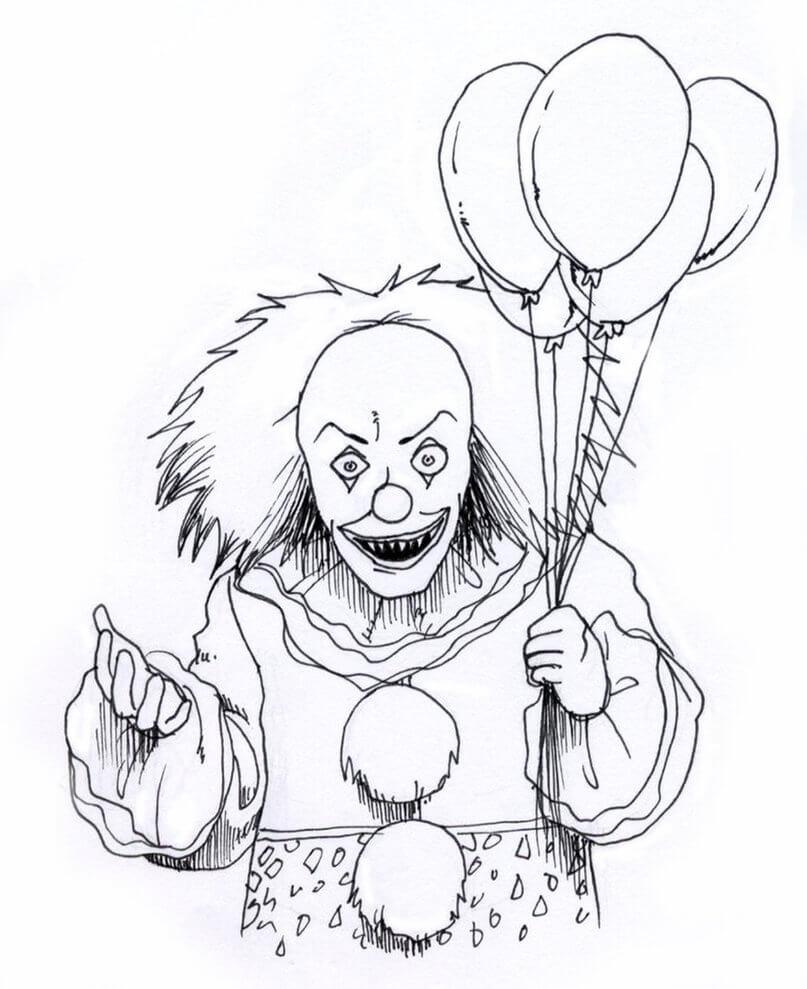 Desenhos de Palhaço Assustador para colorir