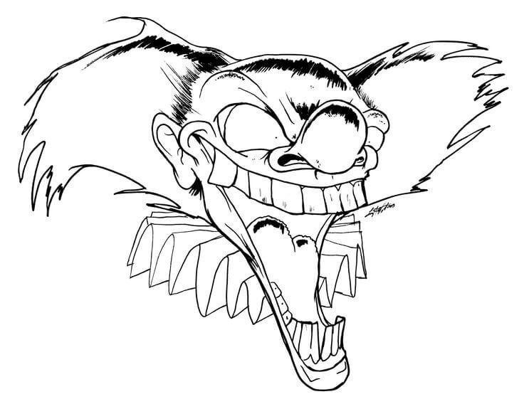 Desenhos de Palhaço Cabeça Assustador para colorir