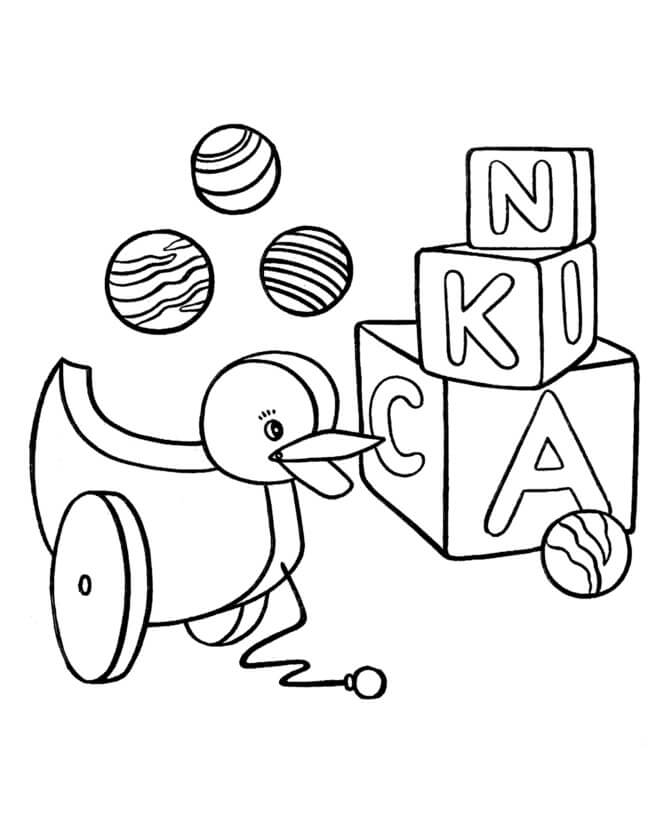 Desenhos de Pato, Caixa E Bola para colorir