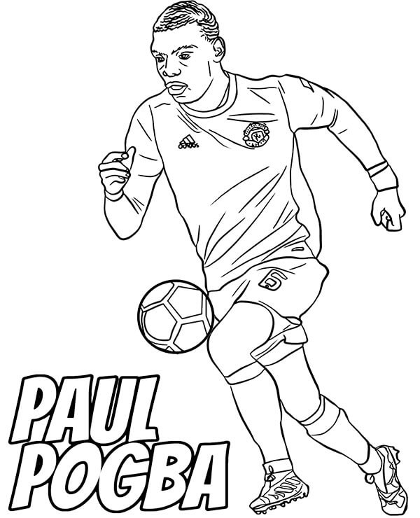 Desenhos de Paul Pogba Faz A Bola Quicar para colorir