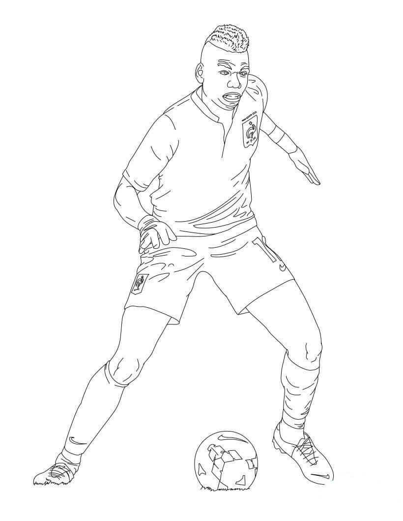 Desenhos de Paul Pogba Jogando Futebol para colorir