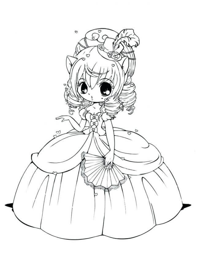 Desenhos de Princesa anime para colorir