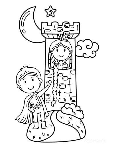 Desenhos de Princesa Da Torre para colorir