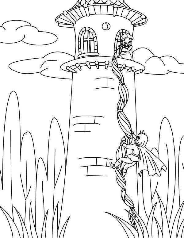 Desenhos de Rapunzel Na Torre para colorir