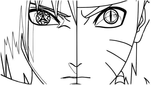 Desenhos de Rosto De Naruto E Sasuke para colorir