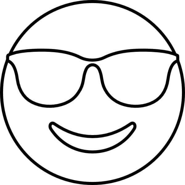 Desenhos de Rosto Sorridente Com Óculos De Sol para colorir