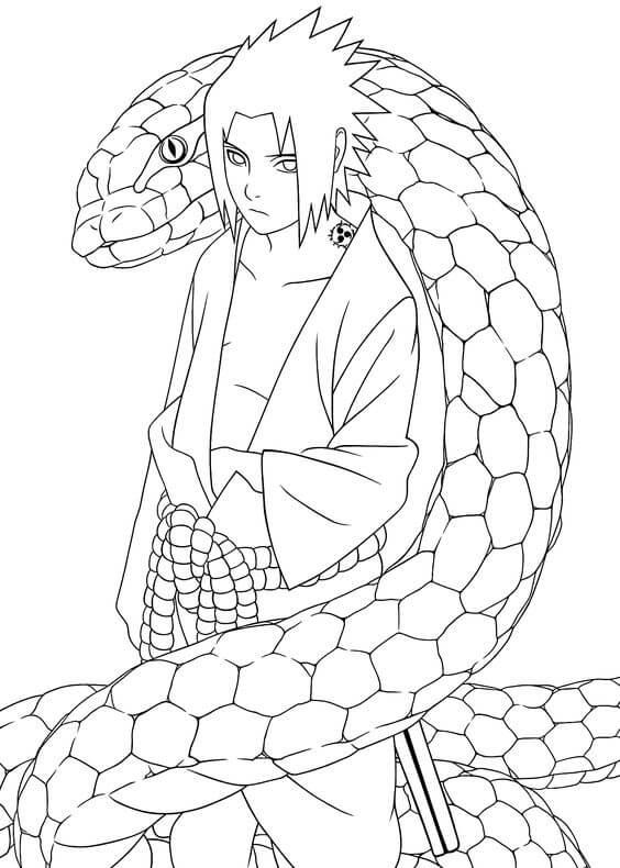 Desenhos de Sasuke Com Aoda para colorir