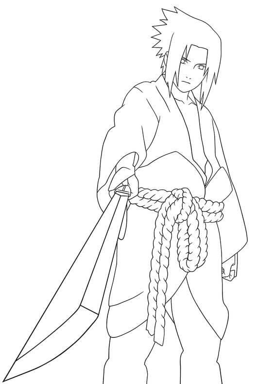Desenhos de Sasuke Com Espada para colorir