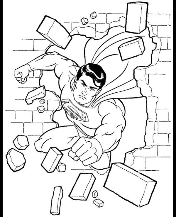 Desenhos de Super Homen Quebrando A Parede para colorir