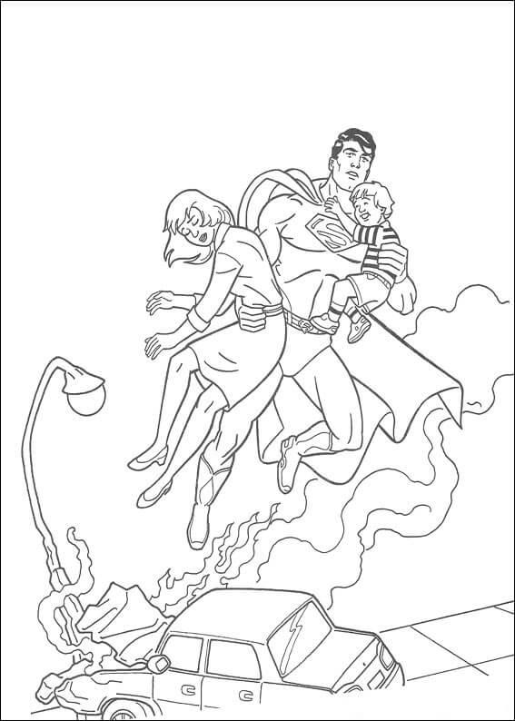Desenhos de Super Homen Salvando Pessoas para colorir