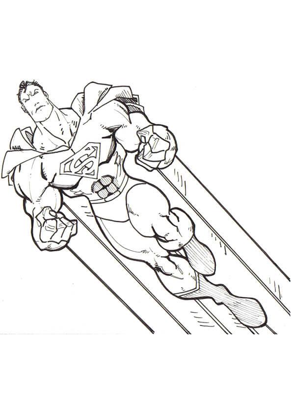 Desenhos de Super Homen Voando para colorir