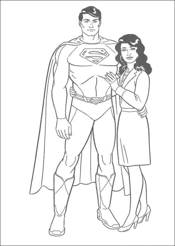 Desenhos de Super Homen Y Lois Lane para colorir