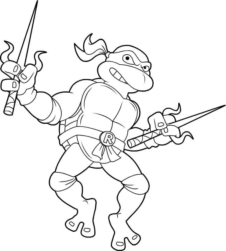 Desenhos de Tartaruga E Faca Ninja para colorir