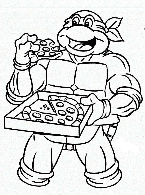 Desenhos de Tartaruga Ninja Comendo Pizza para colorir