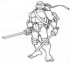 Desenhos de Tartaruga Ninja Leonardo E 2 Katana para colorir