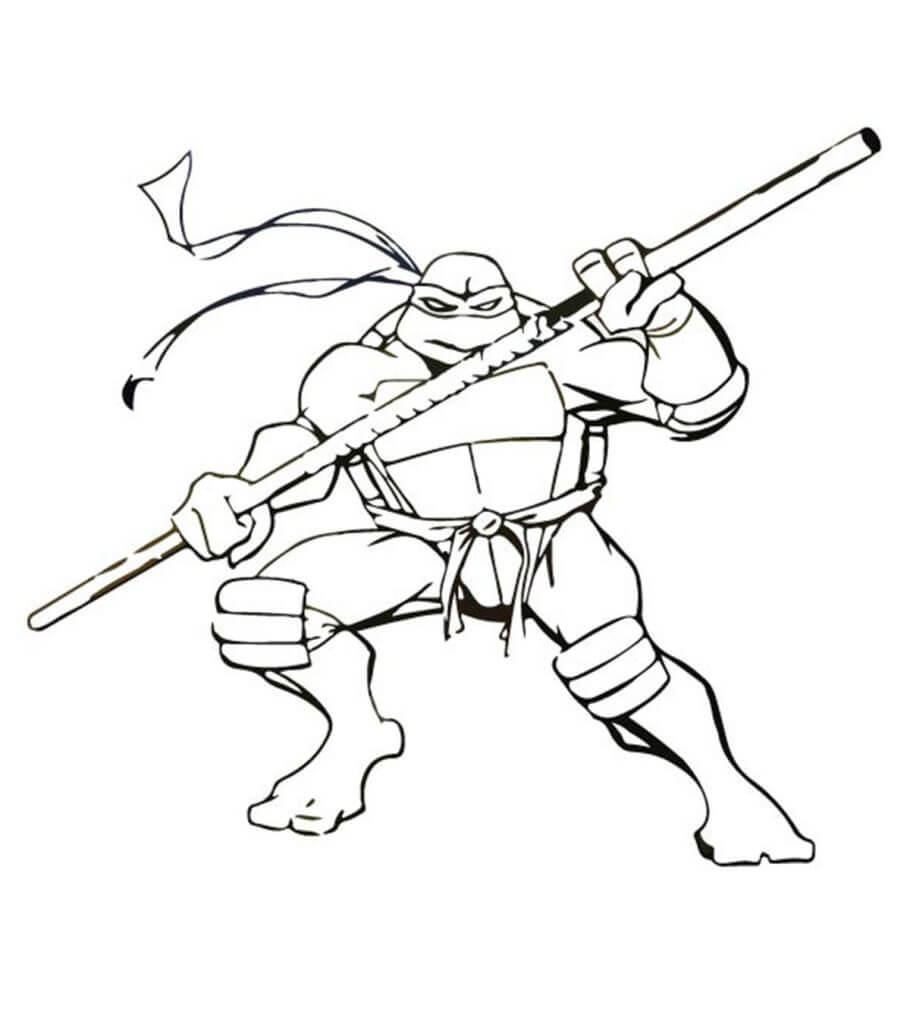 Desenhos de Tartarugas Ninja E O Pau para colorir