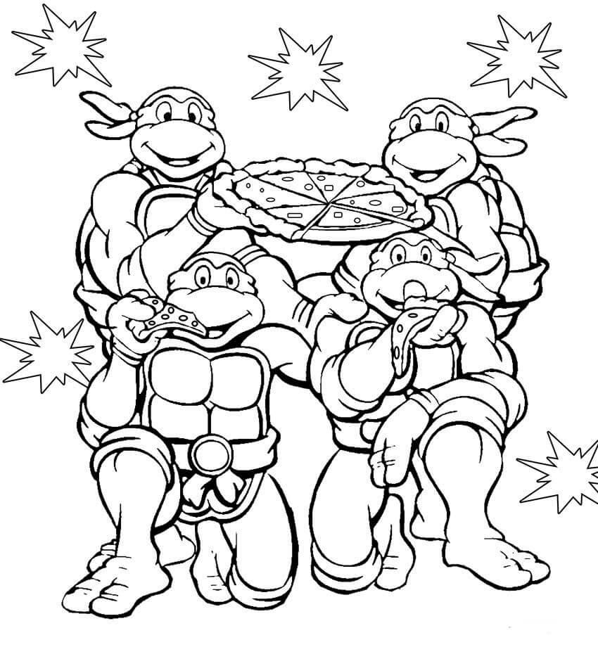 Desenhos de Tartarugas Ninja para colorir