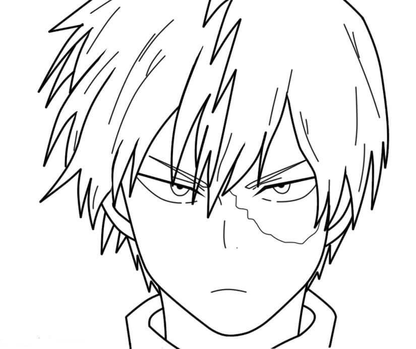 Desenhos de Todoroki Shoto Irritado para colorir