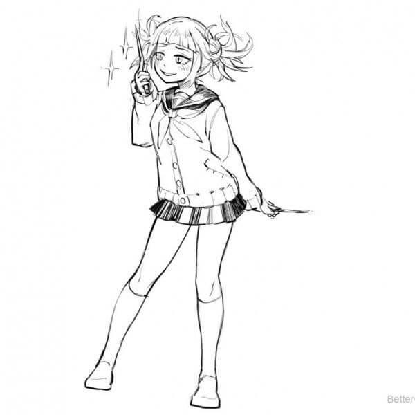 Desenhos de Toga Hmiko Sorridente para colorir