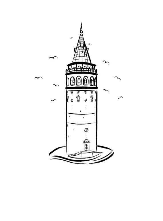 Desenhos de Torre Galata para colorir
