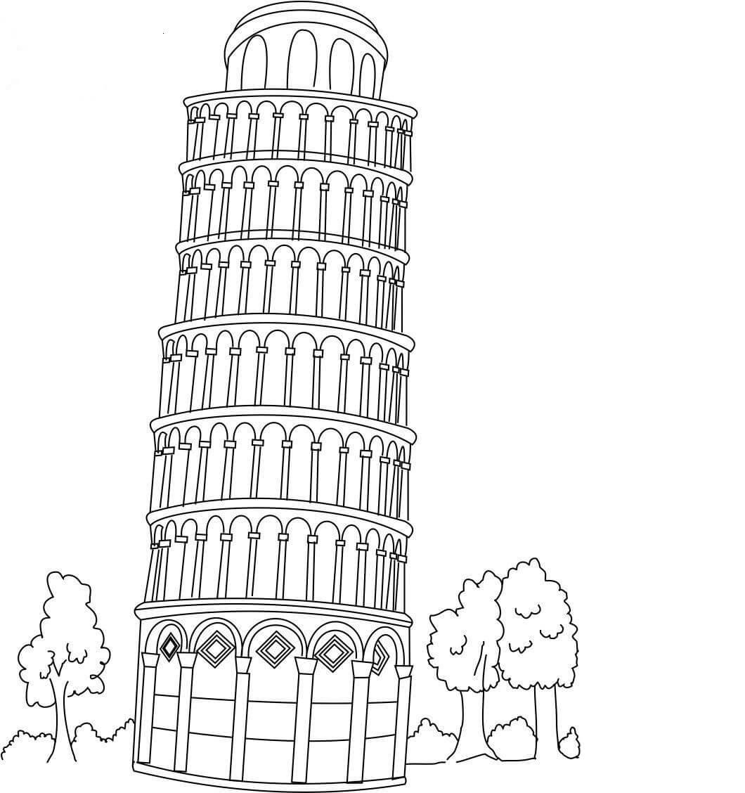Desenhos de Torre Inclinada De Pisa para colorir