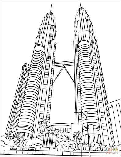 Desenhos de Torres Gêmeas Petronas para colorir