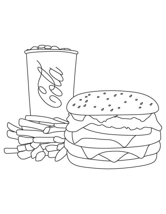 Desenhos de Uma Combinação De Refeições Do McDonalds para colorir